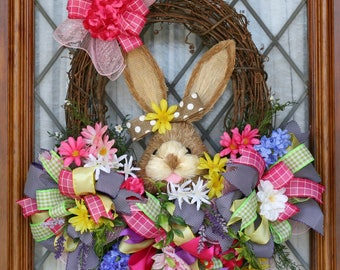 Easter bunny wreath Easter wreath Spring wreath for door Easter decoration