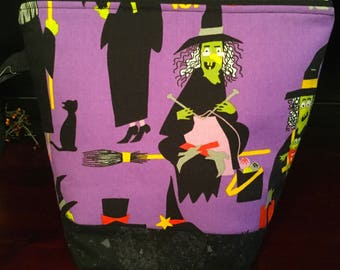 Knitting Witch zippered knitting project bag