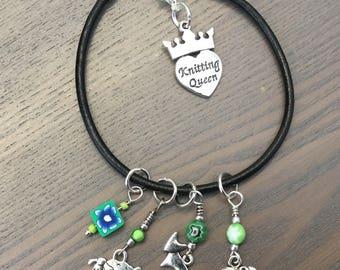 Handmade Stitch Markers & Knitting Queen Progress Keeper Black Leather Bracelet, Green set