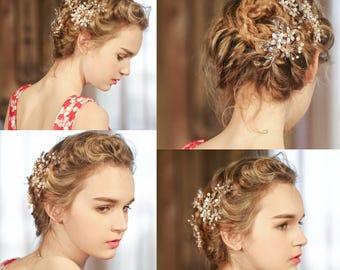 Wedding Hair Accessories Set of Wedding Hair Pins & Comb Gold Rhinestone Flower