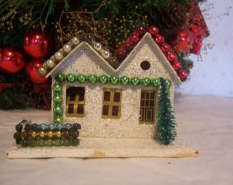 Vintage Putz Coconut Paper Christmas House with Mercury Glass Beads,Japan
