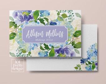 Makeup artist business card premade business card floral business card design printable business card elegant business card blue flowers