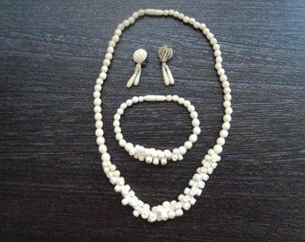 Antique, 19 th C bone set /necklace, bracelet, clips/