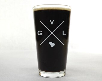 Greenville Pint Glass | Greenville Glass - Beer Glass - Pint Glass - Beer Glasses - Pint Glasses - Beer Mug - Greenville - Custom Pint