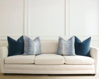 Antelope Linen Print // Navy Pillow COVER ONLY