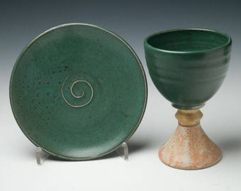 pottery chalice and paten set , common cup, liturgical vessels