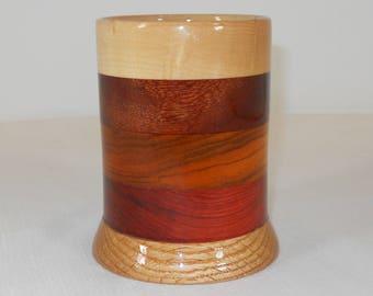 Wood Pencil Holder, Wooden Pen Cup, Office Desk Organizer (#165)