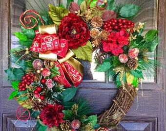 Front Door Wreath | Christmas Wreath | Grapevine Wreath | Christmas Decorations | Door Wreaths | Wreaths on Etsy | Etsy Wreaths