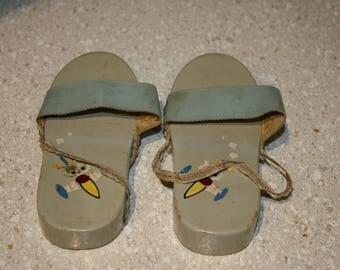 Wooden little girls sandals
