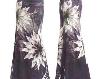 Purple Floral Sublimation Maxi Long Skirt Sizes Small/Medium/Large/XL/1XL/2XL/3XL