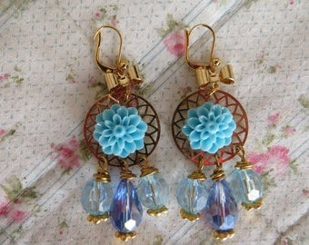 Earrings with Blue rose and 3 blue faceted glass beads