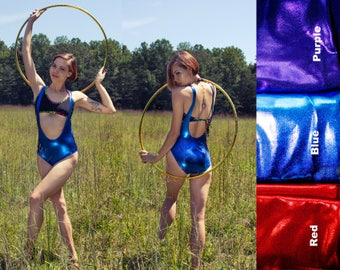 Metallic Suspender Bodysuit Weight Lifter Wet Look Spandex Lycra Shiny Bodysuit Suspender Leotard Low Neckline Rave Bodysuit Red Purple Blue