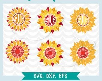 Sunflower svg, monogram sunflower svg, sunflower dxf, sunflower eps, monogram sunflower svg, flower monogram, summer monogram svg