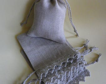 """10 Small Linen bags * Wedding Gifts *  Linen Drawstring *Linen Sachet Bags * 3"""" x 8"""" ( 7.5cm x 20cm)"""