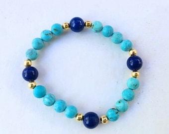 Mediterranean Blue Bohemian Stretch Braycelet