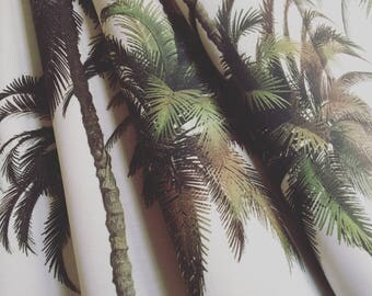 Tropical Curtains  Palm Tree Curtains  Okeo Tex  Green And White  Made