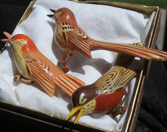 1960s Set of 3 Bird Scatter Pins