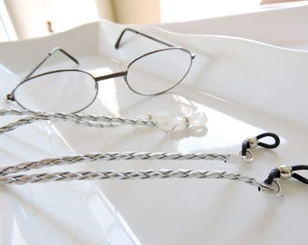 Braided Leather Silver Eyeglass Chain - Chain Reading or Sunglasses Glassess Holders - Leather Eyeglass Holder Don't Lose your Glasses