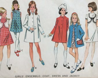 McCall's 9650 girls dress, coat & jacket size 10 vintage 1960's sewing pattern