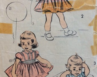 Advance 6236 girls dress & panties size 1 vintage 1950's sewing pattern