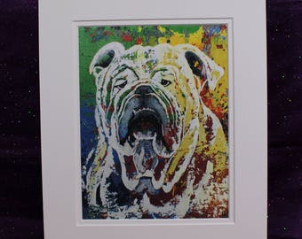 Abstract English Bulldog Painting, Rainbow Bulldog Print, Cute Bulldog Art Print, Matted 11 x 14 Bulldog Wall Art, Gifts for her, him, kids