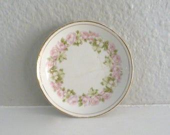 Vintage Pink Rose China Tea Bag Plate, Spoon Rest or Trinket Dish