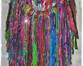 BOHEMIAN CARNIVAL Silk Rag Wreath -  Tattered & Frayed Shabby Chic Wallhanging, Gypsy Soul, Mardi Gras Decor, LARGE Boho Hippie Door Wreath