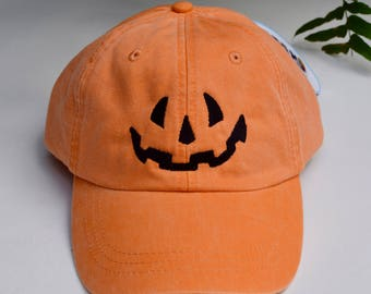 Halloween Pumpkin Baseball Cap || Embroidered Jack-o-lantern Face || Custom Gift by Three Spoiled Dogs Made in USA