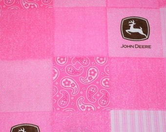Pink and Brown John Deere Fabric, Pink Quilting Fabric, Pink Western Fabric, Western Fabric, John Deere Fabric, Farm Quilting Fabric