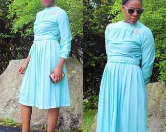 Turquoise dress, Vintage  1970's