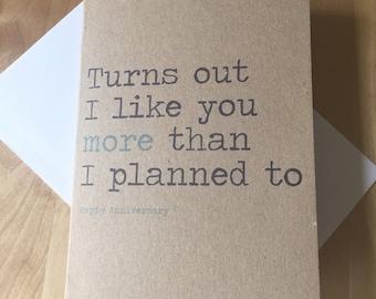 Anniversary card - funny - sarcasm - cute