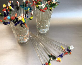 Set of 6 Handblown Glass Swizzlesticks Stir Sticks Birds, Flowers, Animals