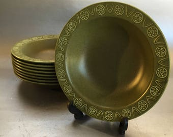 4 of 8 Crown Ducal Concorde Cereal or Soup Bowls Green Mid Century Modern Pottery English