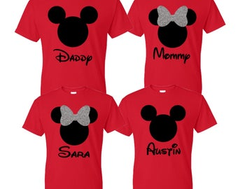 Disney Family Shirts Mickey and Minnie Mouse Ears, Matching Disney Custom Family Vacation T-Shirts