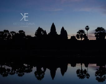 Angkor at Sunrise III | Siem Reap, Cambodia~ Temple, ancient, hindu, architecture, silhouette, blue sky, sunrise, reflection, Angkor wat,