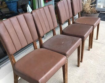 35% off Sale Set of 4 wooden vinyl chairs mid century retro kitchen man cave