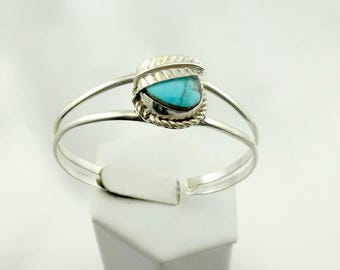 Vintage Hand Made Turquoise and Sterling Silver Cuff Bracelet FREE SHIPPING! Southwest Native American  #LEAF-CF10