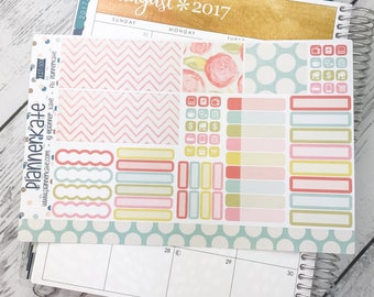 KIT-30G || -Ec Monthly- AUGUST FLORAL Monthly View Kit - Sheet #2 (Removable Matte Stickers)