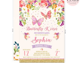 Butterfly Birthday Invitation Butterfly Invitation Whimsical Floral Butterfly Invitation Floral Butterfly Garden Birthday Party Invitation