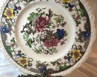 "ROYAL CAULDON, England, BENTICK Pattern, Hand Painted Floral, 11"" Dinner Plate"