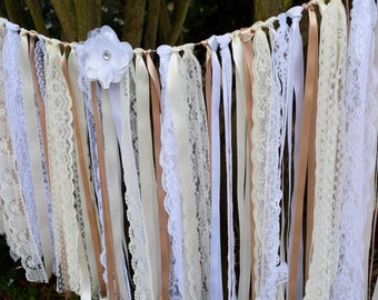 Rustic Vintage Bohemian Beige Ivory and White Lace Ribbon Garland Banner for Weddings Party Decor Backdrop