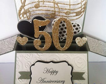 50th Golden Wedding Anniversary Card, 50th Anniversary Card, Golden Wedding Card, Anniversary Gift, Year number Personalised