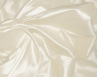 "Pure Silk Dupion Shantung in BRIDAL IVORY, Natural White fabric 137 cm (54"") 30 cm short end from stock range"