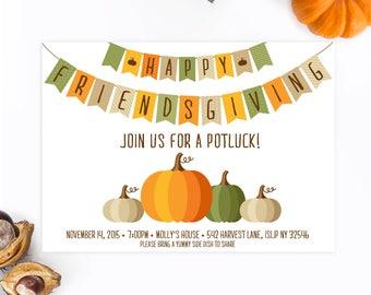 Potluck Invitation, Friendsgiving, Thanksgiving Invitation, Fall Party Invitation, Pumpkin Invitation, Friendsgiving Invitation, Potluck