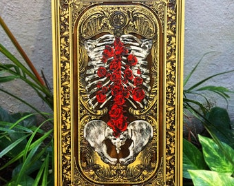 Billelis Artist Colaboration, Skeleton Art, Red Roses, Anatomical Art on Wood, Flourish Art, Limited Edition, Dark Art Painting Wood