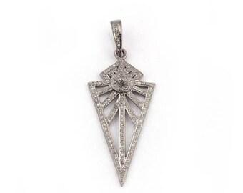 VALENTINE DAY SALE 1 Piece Pave Diamond Arrowhead Pendant - Arrowhead Antique Finish Pendant 44mmx20mm Pd1386