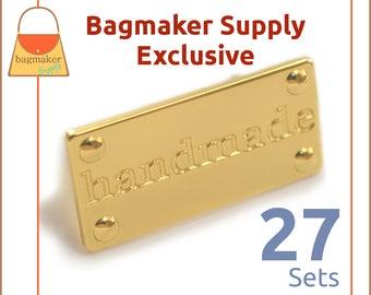 Handmade Purse Embellishment Plate, Shiny Gold Finish, 27 Set Pack, Handbag Craft Making Hardware Supplies, Bag Bling, EMB-AA003