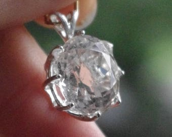 Natural Morganite in Sterling Silver Pendant