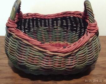 Vintage Wicker Basket,Farmhouse Basket,Gathering Basket,Egg,Easter Basket,Green,Red Basket,Bread Basket,Weaved Basket,Philippines,Primitive
