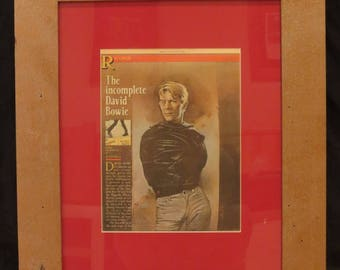 Framed David Bowie Article Ad from Rolling Stone Magazine Reclaimed Wood